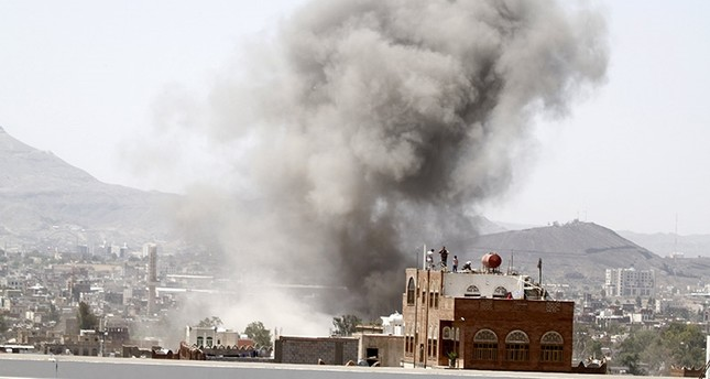Smoke rises from the site of a Saudi-led air strike in Yemen's capital Sanaa, September 26, 2015. Reuters Photo
