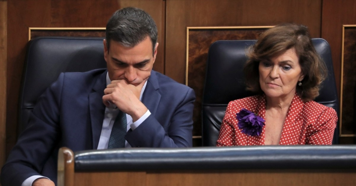 Spain's acting Prime Minister Pedro Sanchez and Deputy Prime Minister Carmen Calvo attend the final day of the investiture debate at the Parliament in Madrid, Spain July 25, 2019 (Reuters Photo)