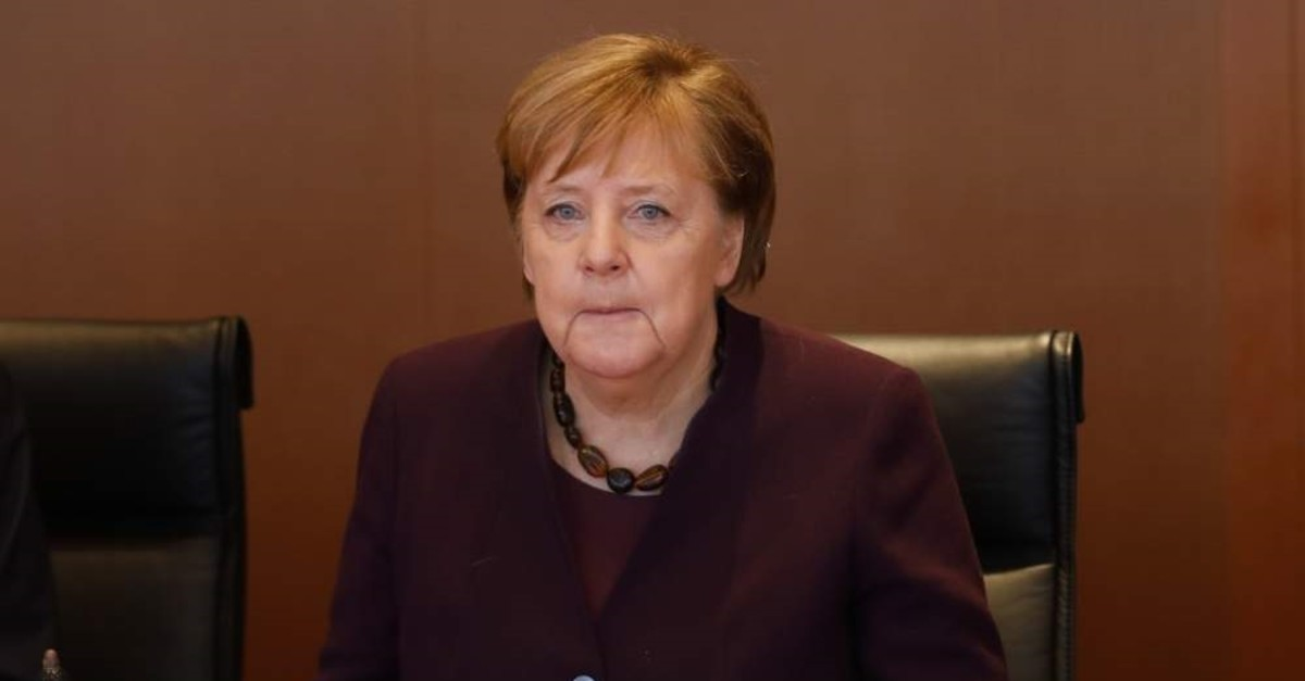 German Chancellor Angela Merkel attends the weekly cabinet meeting at the chancellery in Berlin, Germany, Wednesday, Feb. 12, 2020. (AP Photo/Markus Schreiber)
