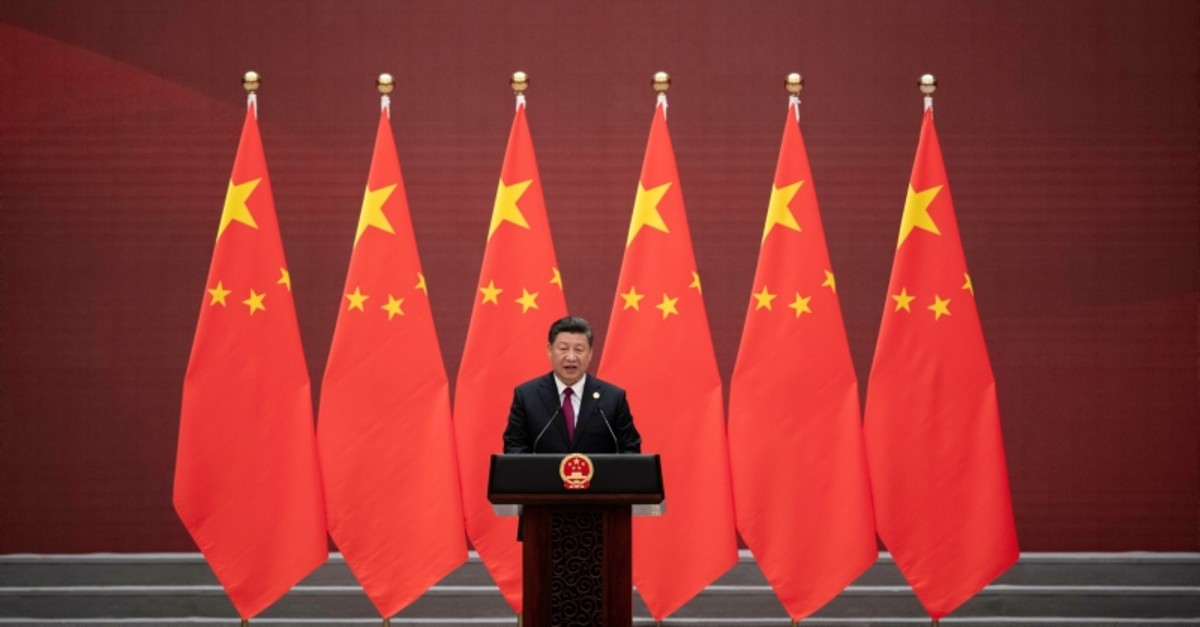Chinese President Xi Jinping makes his speech during the welcome banquet, after the welcome ceremony of leaders attending the Belt and Road Forum at the Great Hall of the People in Beijing, Friday, April 26, 2019. (Pool Photo via AP)