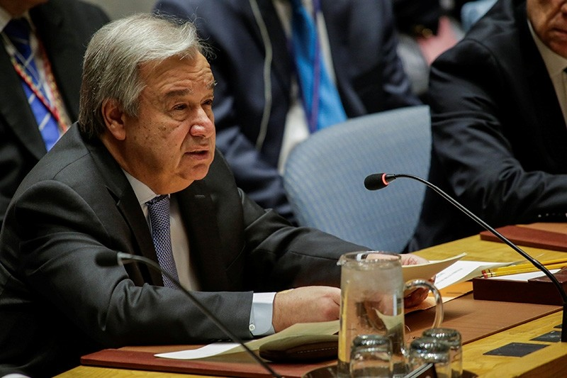 United Nations Secretary-General Antonio Guterres speaks during the United Nations Security Council meeting on Syria at the U.N. headquarters in New York, U.S., April 13, 2018. (Reuters Photo)