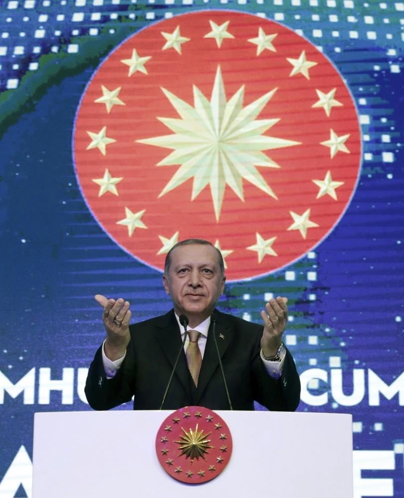 President Recep Tayyip Erdou011fan addresses a business meeting in Istanbul, Dec. 21.