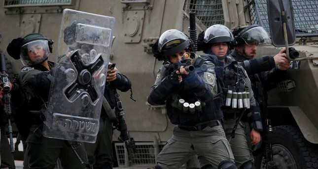 Israeli border police during protests in Hebron in the Israeli-occupied West Bank, Feb. 2, 2020. REUTERS Photo