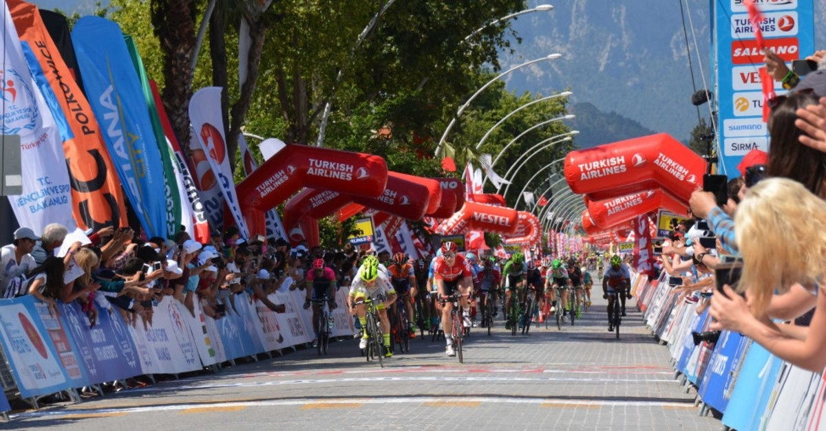 Cyclists kick off the race in the central city of Konya,  Oct. 9, 2018.