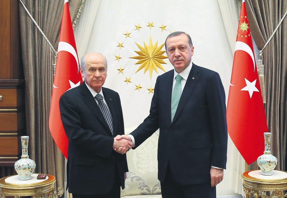 President Recep Tayyip Erdou011fan and MHP leader Devlet Bahu00e7eli will meet at Beu015ftepe Presidential Complex today.