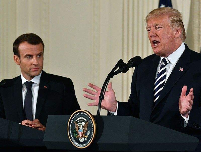 US President Donald Trump and French President Emmanuel Macron hold a joint press conference at the White House in Washington, DC, on April 24, 2018. (AFP Photo)