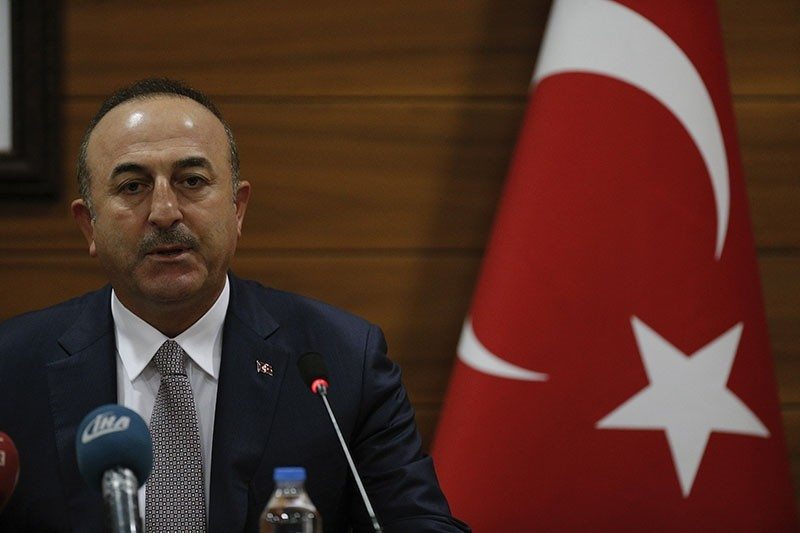 This file photo shows Turkey's Foreign Minister Mevlu00fct u00c7avuu015fou011flu speaks to the media during a joint news conference with Palestinian Foreign Minister Riyad al-Maliki at the Atatu00fcrk Airport in Istanbul, Wednesday, Dec. 20, 2017. (AP Photo)