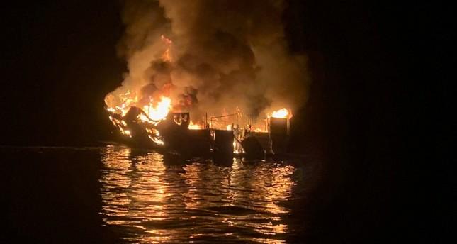 A 75-foot 23-meter vessel burns during a rescue operation off Santa Cruz Island, California, U.S. September 2, 2019. Santa Barbara County Fire Department/Handout via REUTERS