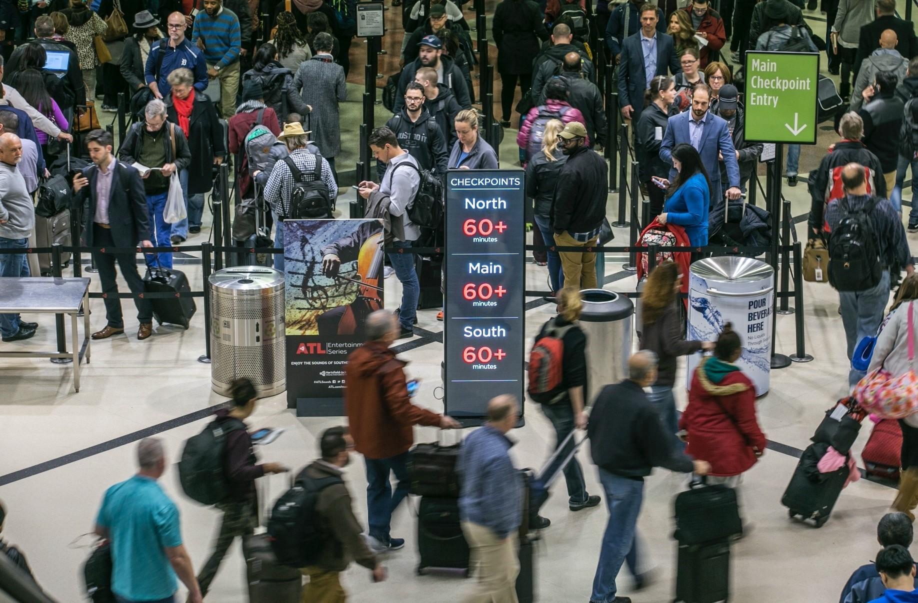 Security lines at Hartsfield-Jackson International Airport in Atlanta, Jan. 14.