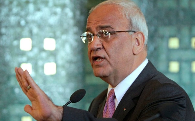 In this Oct. 2, 2011 file photo chief Palestinian negotiator Saeb Erekat, talks during a press conference with Arab League Secretary General Nabil al-Arabi, not pictured, at the Arab League headquarters in Cairo, Egypt. AP Photo