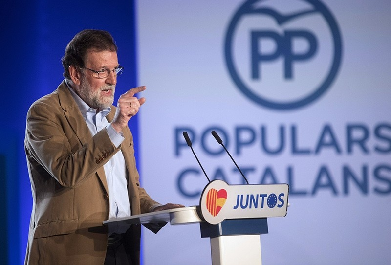 Mariano Rajoy, Spanish Prime Minister and ruling People's Party (PP)'s President, delivers a speech (EPA Photo)