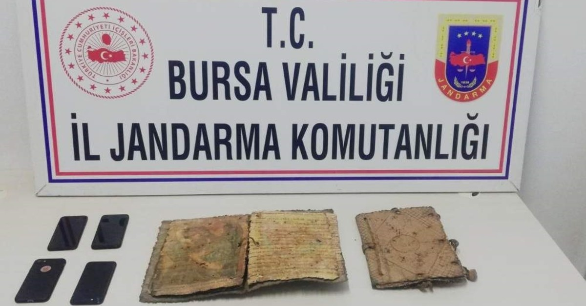 Turkish security forces seized a 1,000 year-old bible in northwestern Turkey's Bursa province. (DHA Photo)