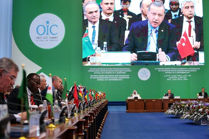 This file photo dated Nov. 9, 2017 shows President Recep Tayyip Erdou011fan speaking during the 1st Science and Technology Summit of the Organization of Islamic Cooperation (OIC) in Astana, Kazakhstan. (AA Photo)