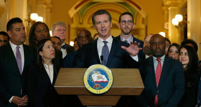 California Gov. Gavin Newsom discusses his decision to place a moratorium on the death penalty during a news conference at the Capitol, Wednesday, March 13, 2019, in Sacramento, Calif. (AP Photo)