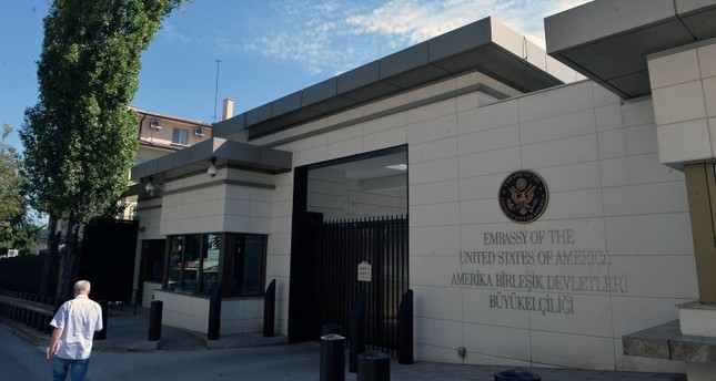 This file photo dated Aug. 8, 2018 shows the entrance of the existing U.S. embassy in Çankaya district in capital Ankara. (Photo: Sabah)