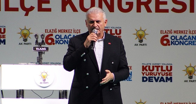 Prime Minister Binali Yıldırım speaking at AK Party's local congress in Elazığ province  on Oct. 21, 2017 (IHA Photo)