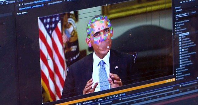 An image taken from a fake video featuring former President Barack Obama shows elements of facial mapping.