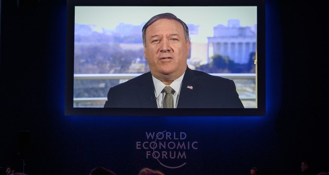 U.S. Secretary of State Mike Pompeo is seen on a screen during his address via satellite at the World Economic Forum WEF annual meeting, on January 22, 2019 in Davos, eastern Switzerland. AFP Photo