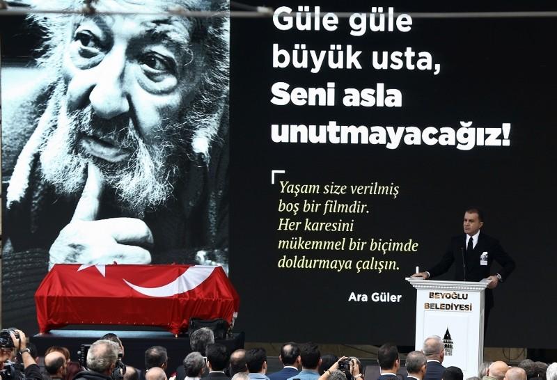 AK Party Spokesperson Ömer Çelik speaks at Güler's memorial service at Galatasaray Square.