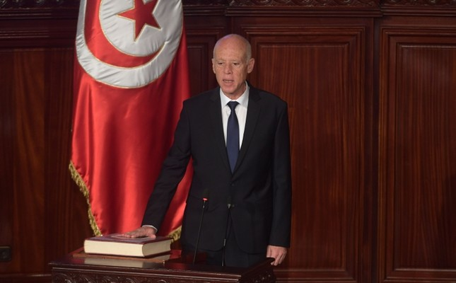 Tunisia's new President Kais Saied takes the oath of office in Tunis, Oct. 23, 2019. (AFP Photo)