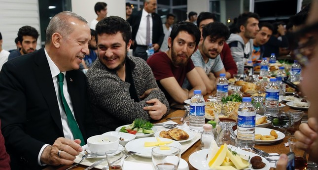 President Erdoğan joined youth for sahur at a student dormitory in Turkey's capital Ankara, after receiving an invitation through Twitter on June 1.