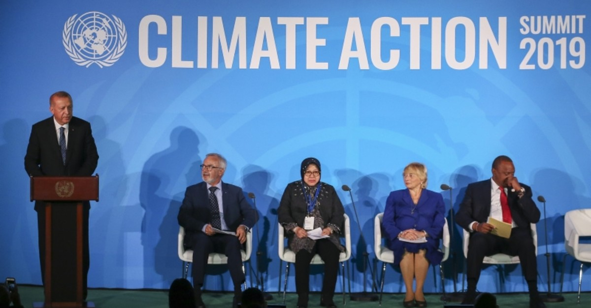 President Erdoau011fn addresses the U.N. Climate Action Summit 2019 in New York on Monday, Sept. 23, 2019 (AA Photo)
