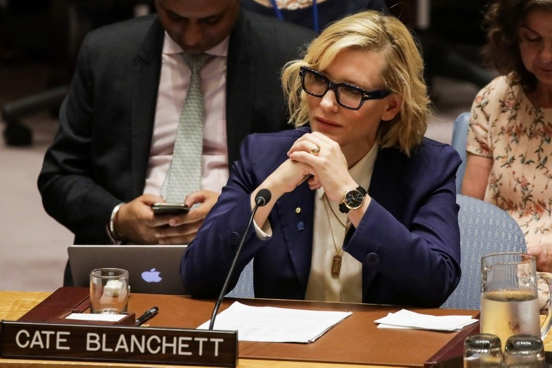 UNHCR Goodwill Ambassador Cate Blanchett listens during the United Nations Security Council on the situation in Myanmar at UN Headquarters in New York on August 28, 2018. (AFP Photo)
