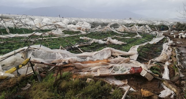 A tornado devastated greenhouses in Antalya's Kumluca district where agriculture heavily relies on greenhouses.