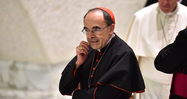 This file photo taken on July 6, 2016 shows French Cardinal Philippe Barbarin, Archbishop of Lyon, smiling in the Pope Paul VI hall, at the Vatican. (AFP Photo)