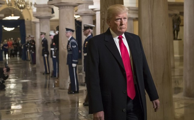 Donald Trump walking through the Crypt at the Capitol to his inauguration ceremony in Washington D.C., Jan. 20, 2017.