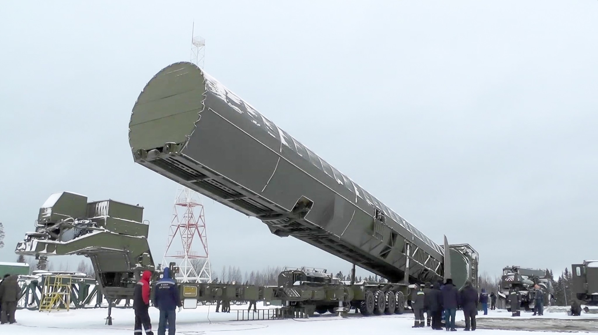 In this video grab provided by RU-RTR Russian television via AP television on Thursday, March 1, 2018, Russia's new Sarmat intercontinental missile is shown at an undisclosed location in Russia. (RU-RTR Russian Television via AP)