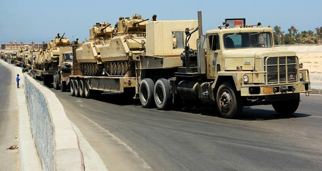 Egyptian military tanks being deployed to the Sinai Peninsula (File Photo)