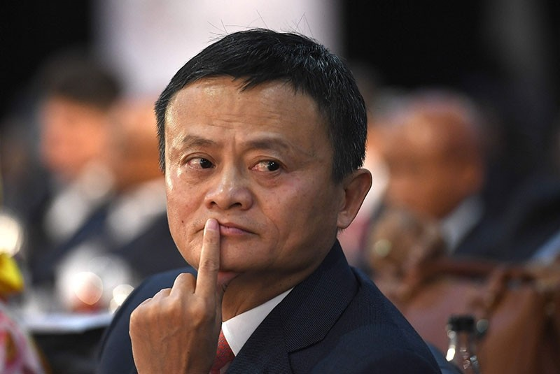 This photo taken on October 26, 2018 shows co-founder of China's Alibaba Jack Ma gesturing as he attends an international investment conference in Johannesburg. (AFP Photo)