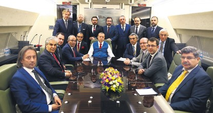 pPresident Recep Tayyip Erdoğan, speaking to journalists on his way back from the NATO summit in Brussels late Thursday, said his meetings with top EU officials were encouraging, with all sides...