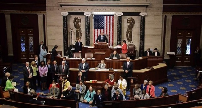 This video grab courtsy of CSPAN shows a sit-in at the US House of Represenatives on June 22, 2016 in Washington, DC. (AFP Photo)