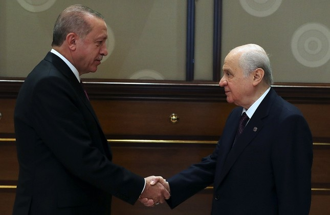 AK Party Chairman and President Recep Tayyip Erdoğan L and MHP leader Devlet Bahçeli R have said the spirit of their alliance is for Turkey's future and that it goes beyond an alliance for winning elections.
