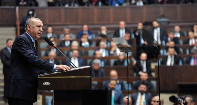 President Recep Tayyip Erdoğan addresses his fellow Justice and Development Party AK Party members in Parliament in Ankara, Jan. 15.