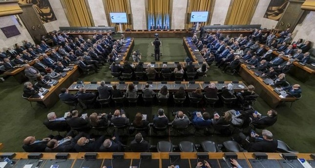 A general view during the meeting of the Syrian Constitutional Committee, at the European headquarters of the United Nations in Geneva, Oct. 30, 2019. (EPA Photo)