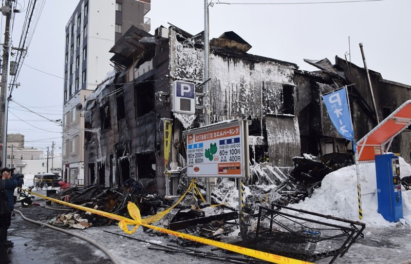 A general view shows the ruins of a fire at a residence for elderly people in Sapporo, northern Japan, on February 1, 2018. (AFP Photo)