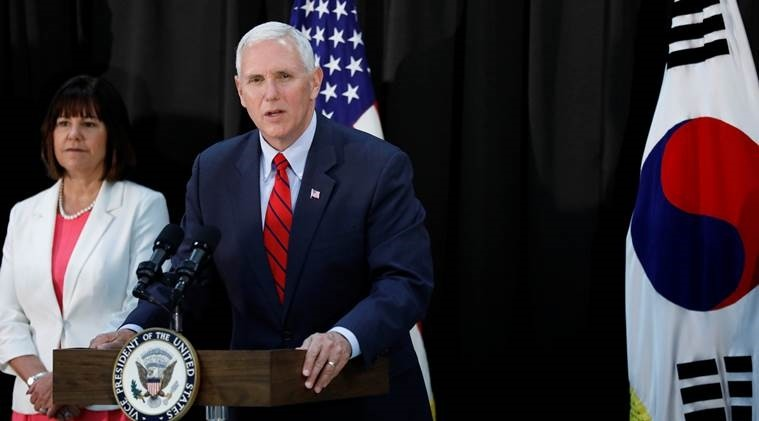 U.S. Vice President Mike Pence speaks during an Easter fellowship dinner at a military base in Seoul, South Korea, April 16.
