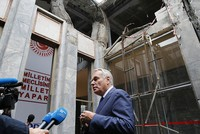 French Foreign Minister Ayrault visits bombed parliament in Ankara