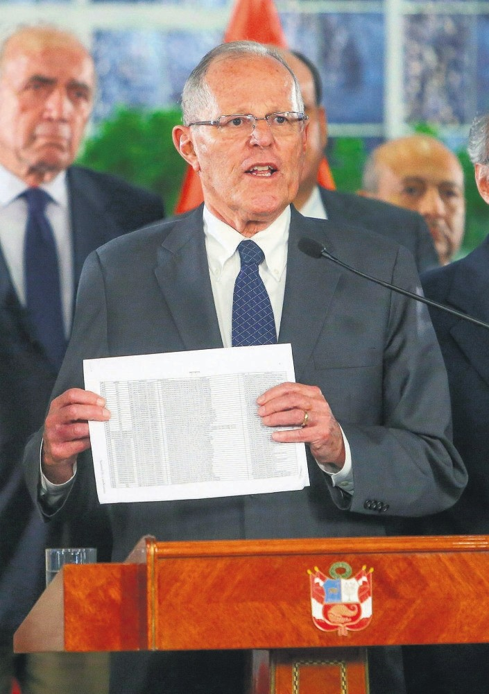 Peruvian President Pedro Kuczynski gives a televised address in Lima, Dec. 14.