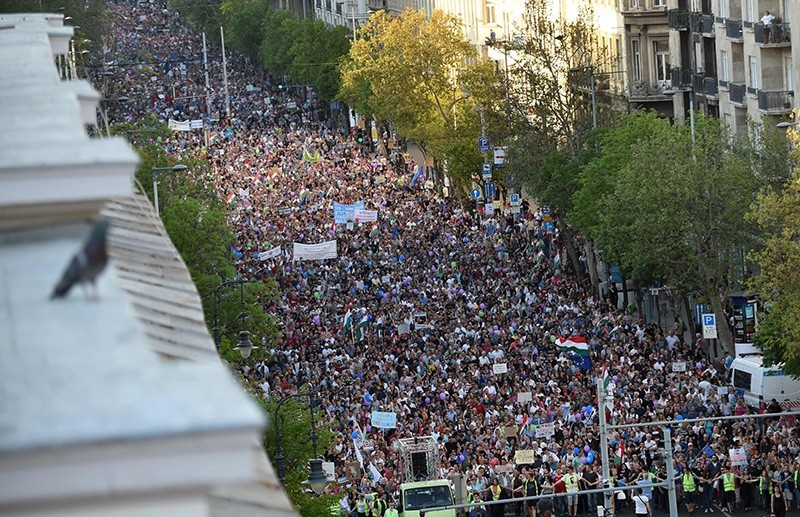 Protesters take part in an anti-government demonstration in Budapest, Hungary, on April 21, 2018. (AFP Photo)