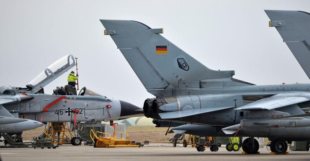 A technician working on a German Tornado jet at the air base in u0130ncirlik, Turkey on January 21, 2016.