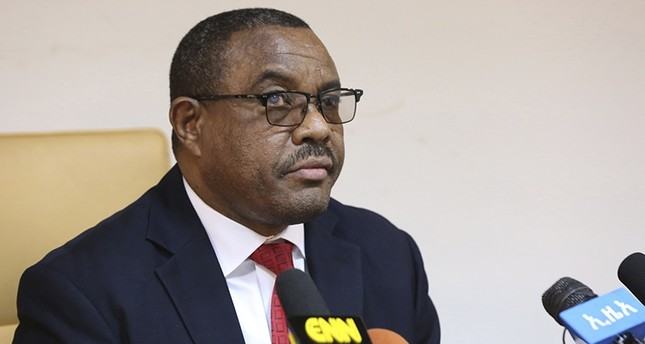 Ethiopian Prime Minister Hailemariam Desalegn, during press conference in Addis Ababa, Ethiopia, Thursday, Feb. 15, 2018. (AP Photo)