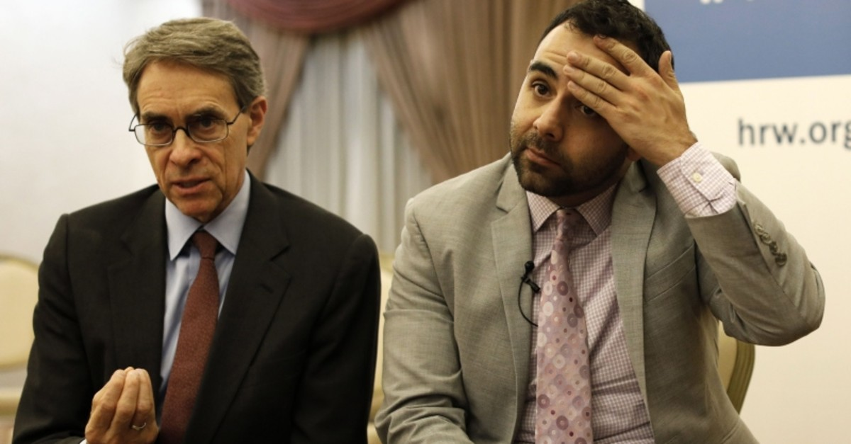 Kenneth Roth (L) the Executive Director of Human Rights Watch (HRW) and  US citizen Omar Shakir, the New York-based rights group HRW director for Israel and the Palestinian territories speak during an interview at an east Jerusalem hotel (AFP Photo)