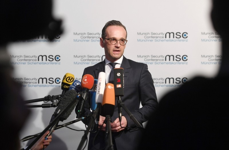 German Minister of Foreign Affairs Heiko Maas talks to the media at the Munich Security Conference in Munich, Germany, Friday, Feb. 15, 2019 (AP Photo)
