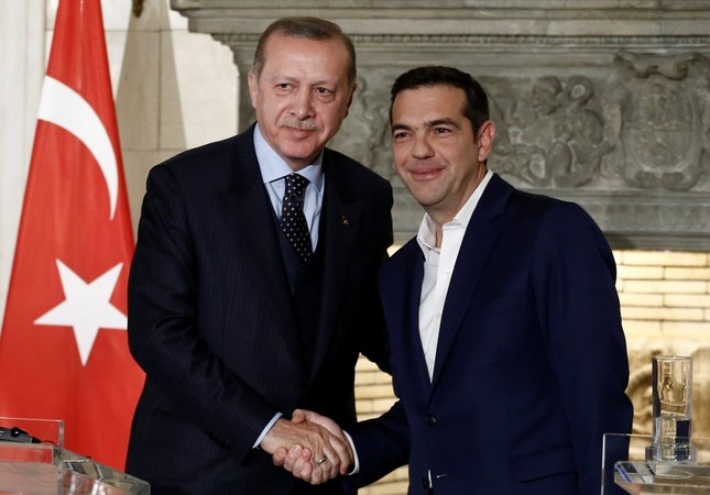 President Recep Tayyip Erdoğan and Greek Prime Minister Alexis Tsipras attend a press conference following their meeting at the Maximos Mansion, Athens, Greece Dec. 7.