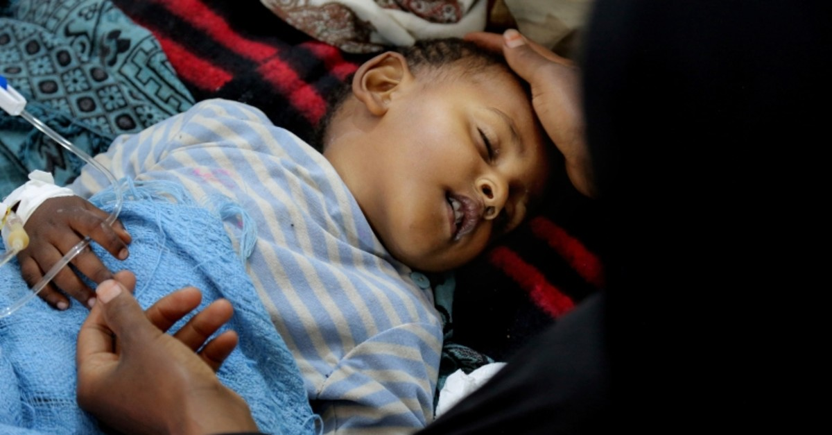 In this May 12, 2017 photo, released by UNICEF, a child is treated for suspected cholera infection at a hospital in Sanaa, Yemen. (UNICEF via AP Photo)