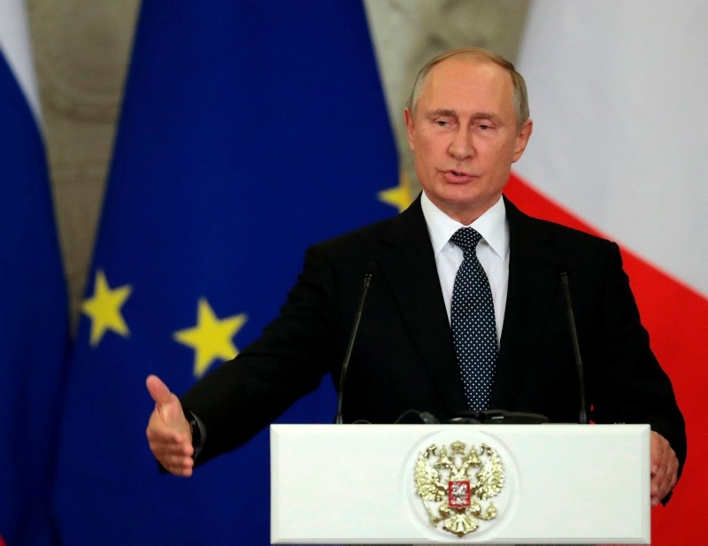 Russian President Vladimir Putin speaks at a joint press conference with Italian Prime Minister following their meeting at the Kremlin in Moscow on October 24, 2018.  (AFP Photo)